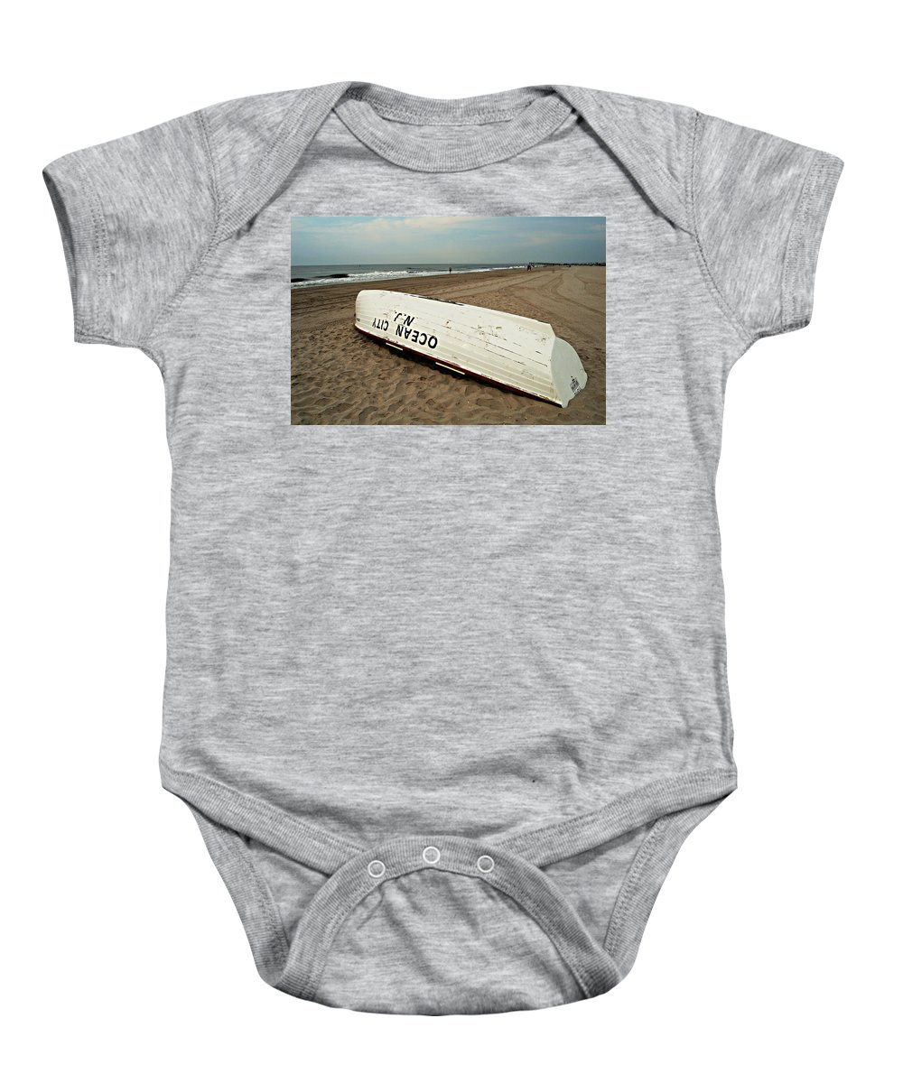 Lifeguard Baby Onesie featuring the photograph Lifeguard Boat Ocean City, Nj by James DeFazio