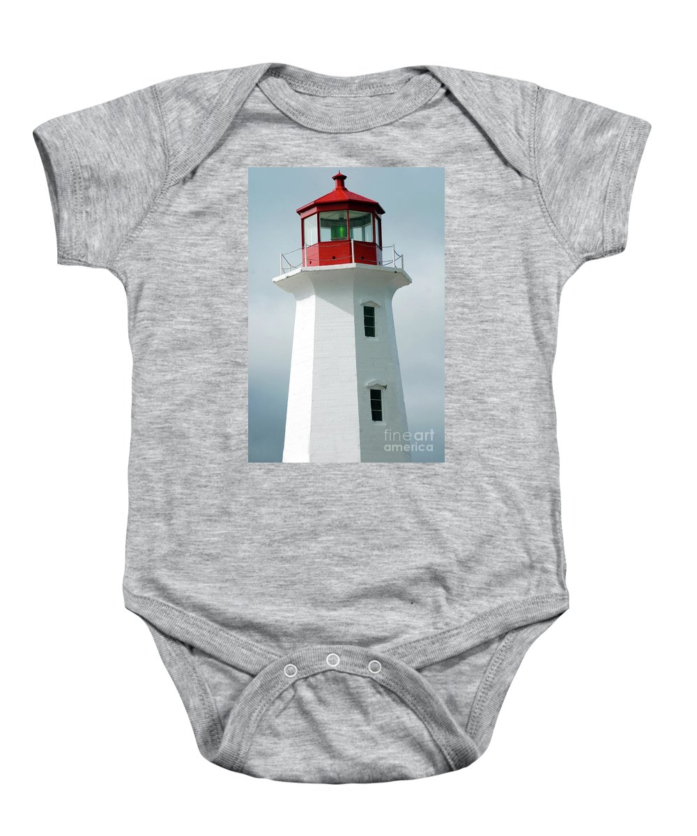 Lighthouse Baby Onesie featuring the photograph Light House Peggy's Cove by Kathleen Struckle