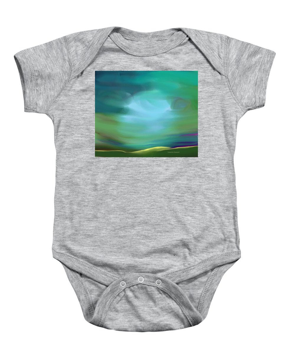 Minimal Baby Onesie featuring the painting Light In The Storm by Lenore Senior