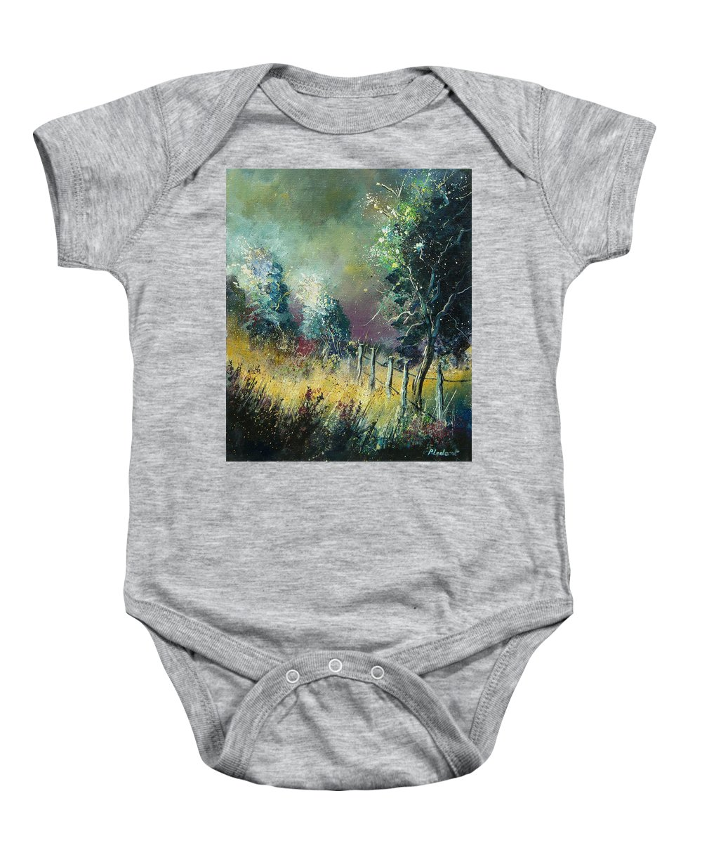 Landscape Baby Onesie featuring the painting Light On Trees by Pol Ledent