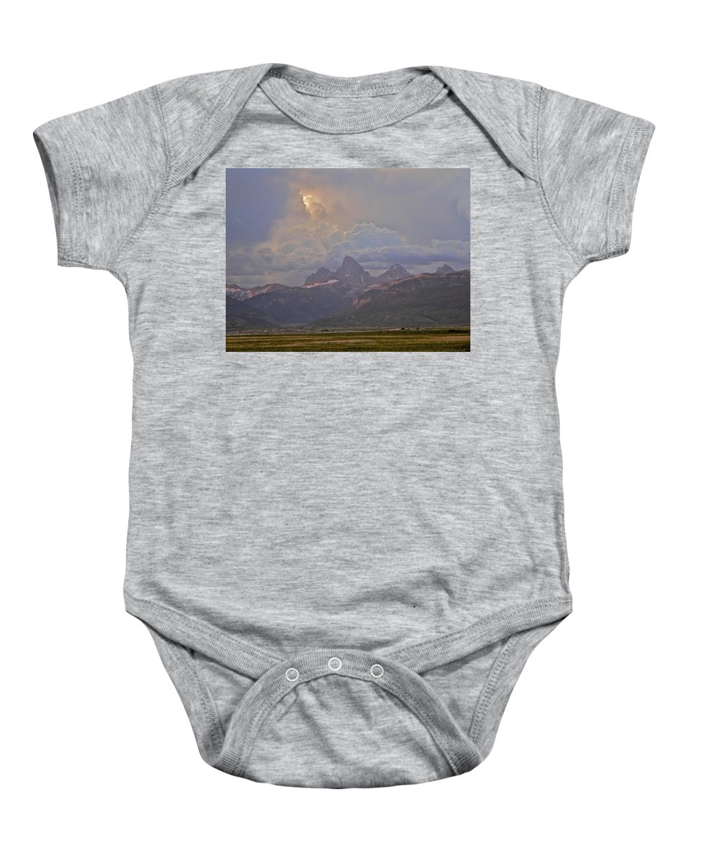 Sunlight Baby Onesie featuring the photograph Light Storm by Eric Tressler