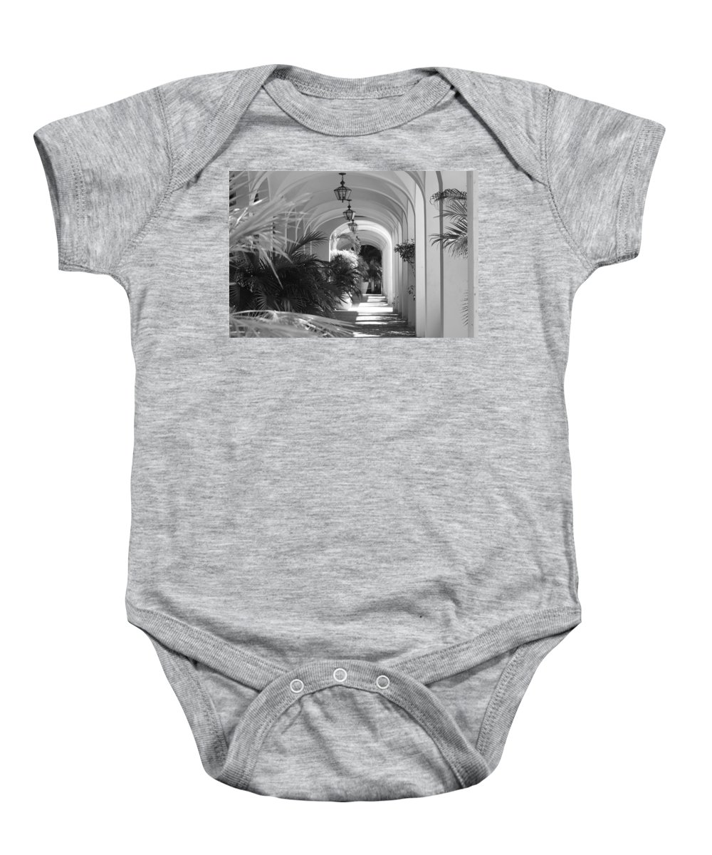 Architecture Baby Onesie featuring the photograph Lighted Arches by Rob Hans