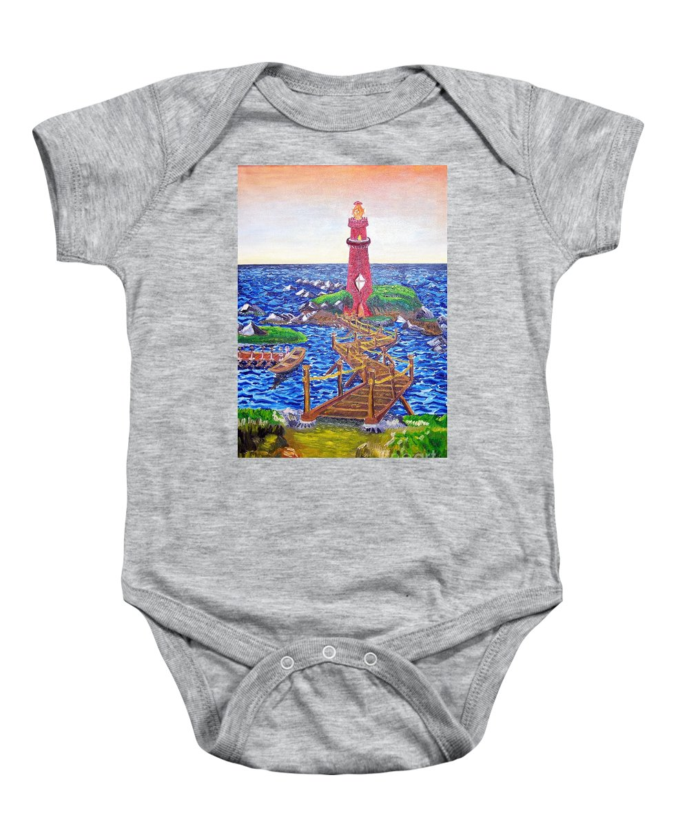 Lighthouse Baby Onesie featuring the painting Lighthouse Island by Timothy Michael Foley