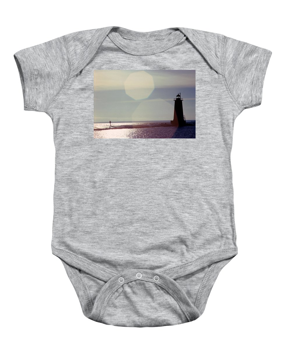 Lighthouse Baby Onesie featuring the photograph Lighthouse Run by Jerry McElroy