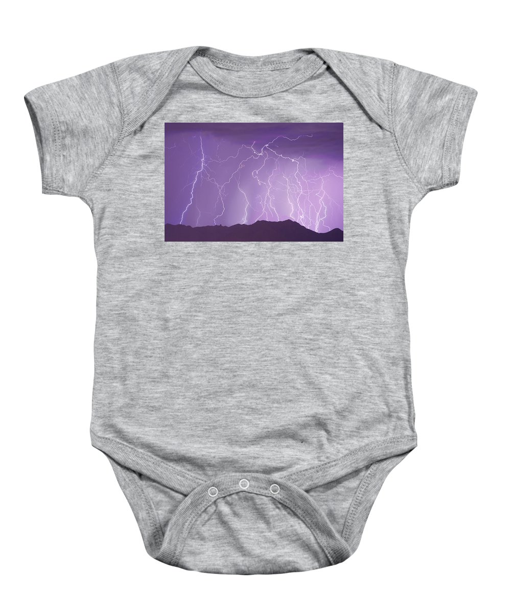 Lightning Baby Onesie featuring the photograph Lightning over the Mountains by James BO Insogna
