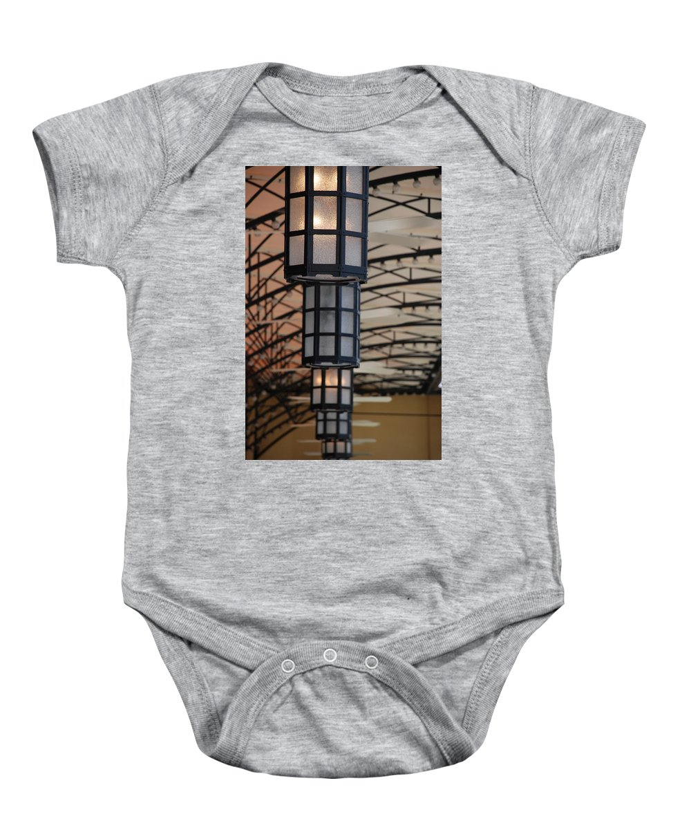 Architecture Baby Onesie featuring the photograph Lights At City Place by Rob Hans
