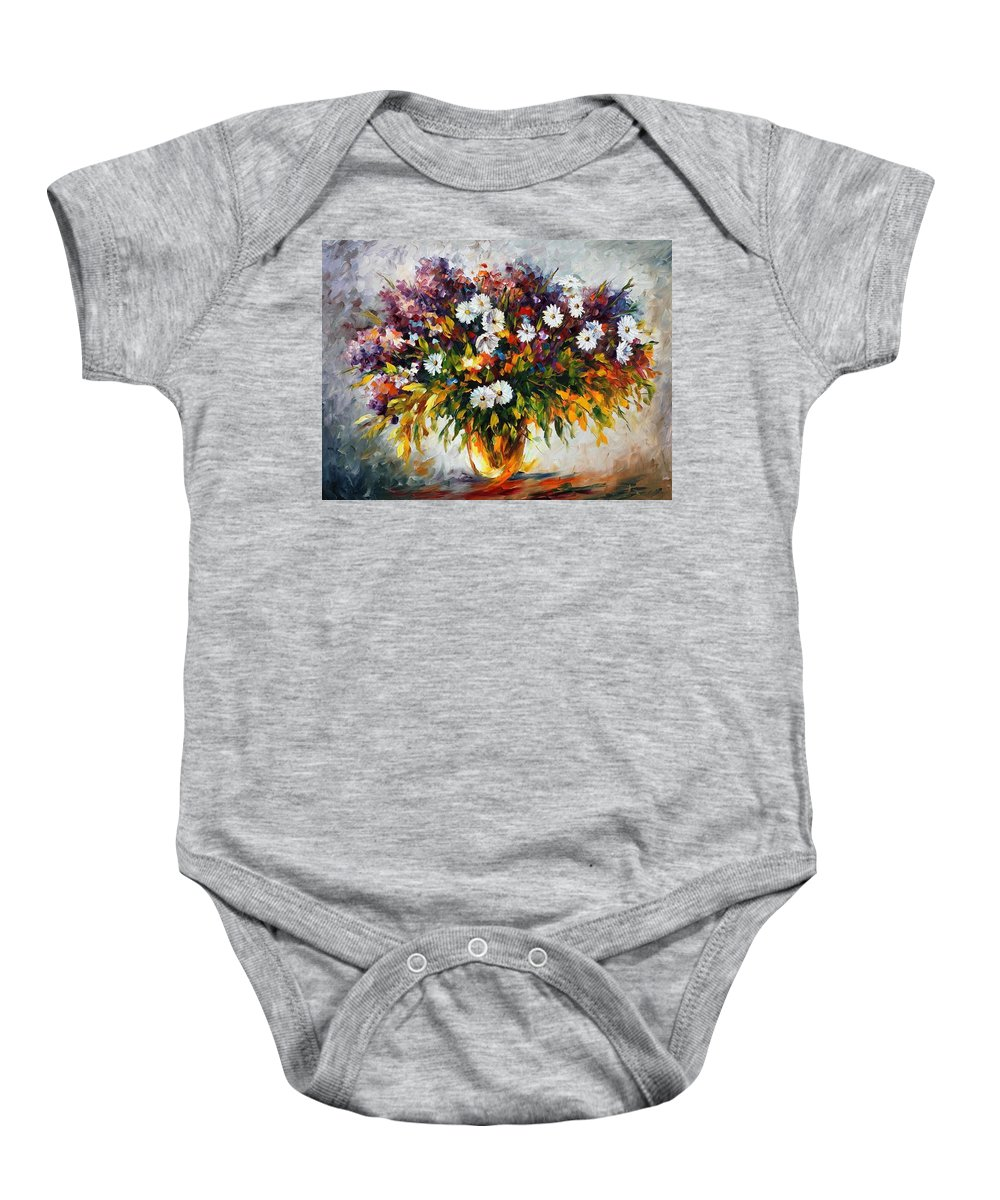 Afremov Baby Onesie featuring the painting Lilac And Camomiles by Leonid Afremov