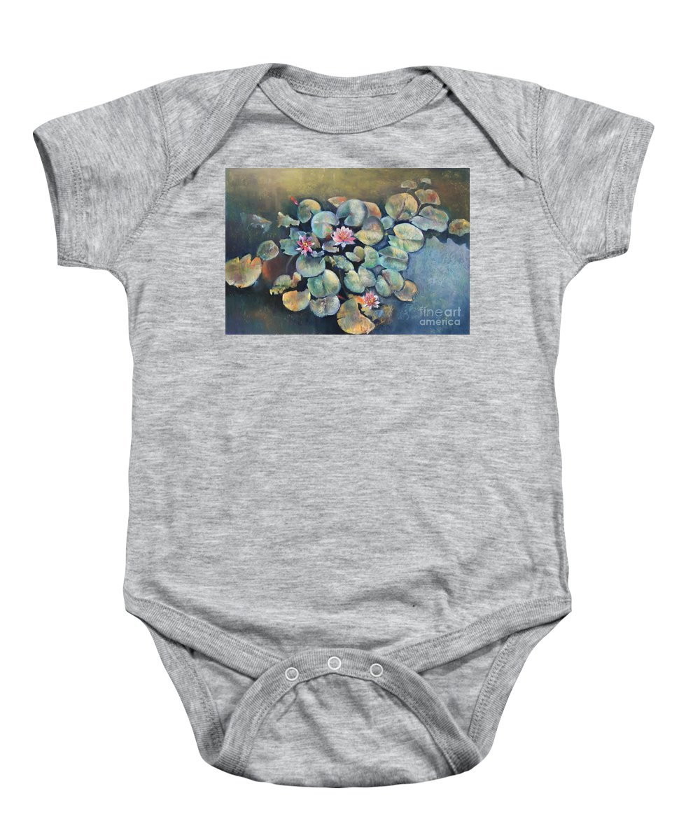 Lillies Baby Onesie featuring the pastel Lillies In Spain by Rupali Kumbhani