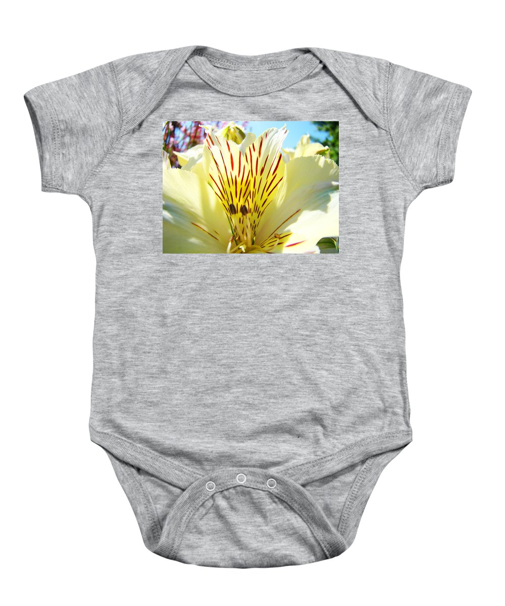 Lilies Baby Onesie featuring the photograph Lily Flowers Art Prints Yellow Lillies 2 Giclee Prints Baslee Troutman by Baslee Troutman