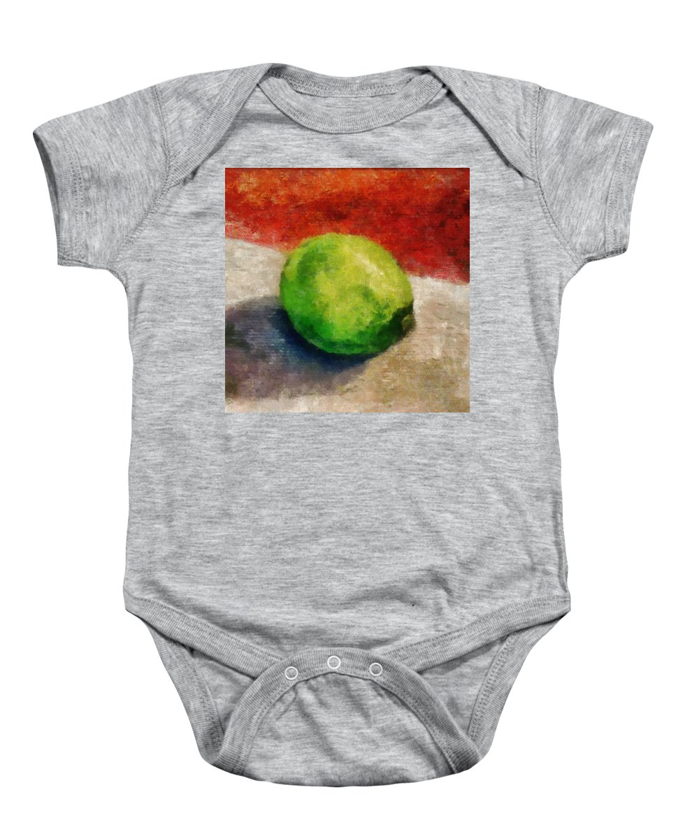 Lime Baby Onesie featuring the painting Lime Still Life by Michelle Calkins