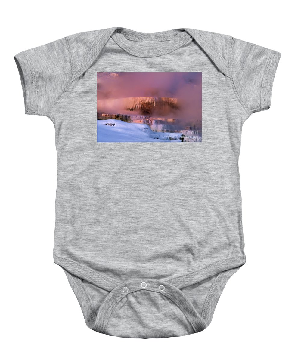 North America Baby Onesie featuring the photograph Limestone Artwork Minerva Springs Yellowstone National Park by Dave Welling