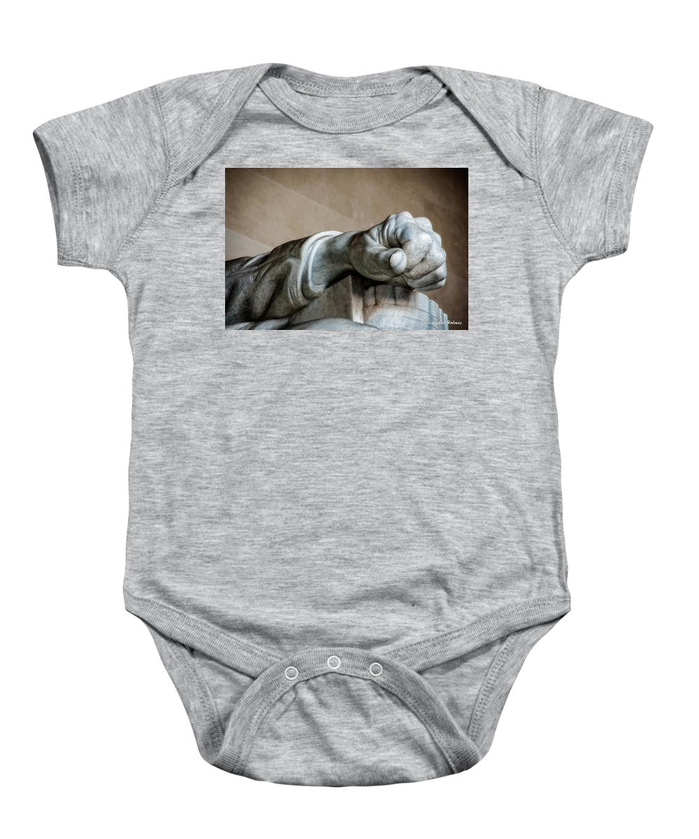 Hand Baby Onesie featuring the photograph Lincoln's Left Hand by Christopher Holmes