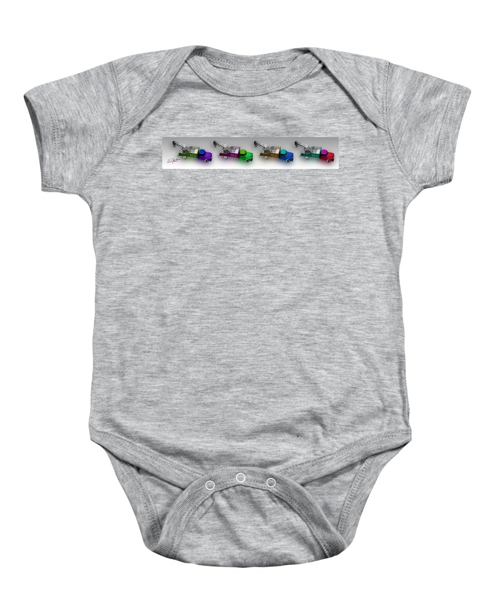 Toy Baby Onesie featuring the photograph Line Truckin by Charles Stuart