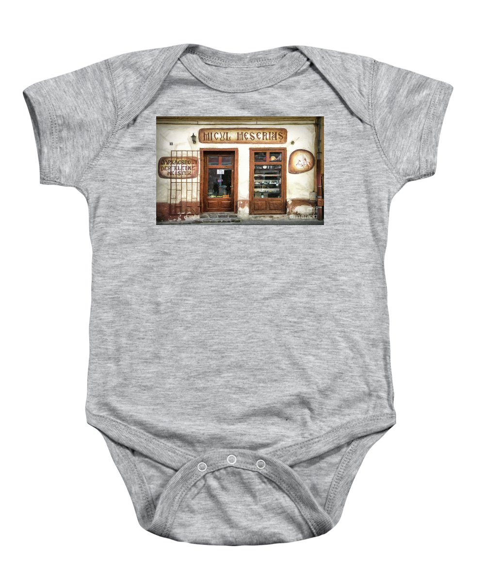 Craftsman Baby Onesie featuring the drawing Little Craftsman' Shop - Micul Meserias by Daliana Pacuraru