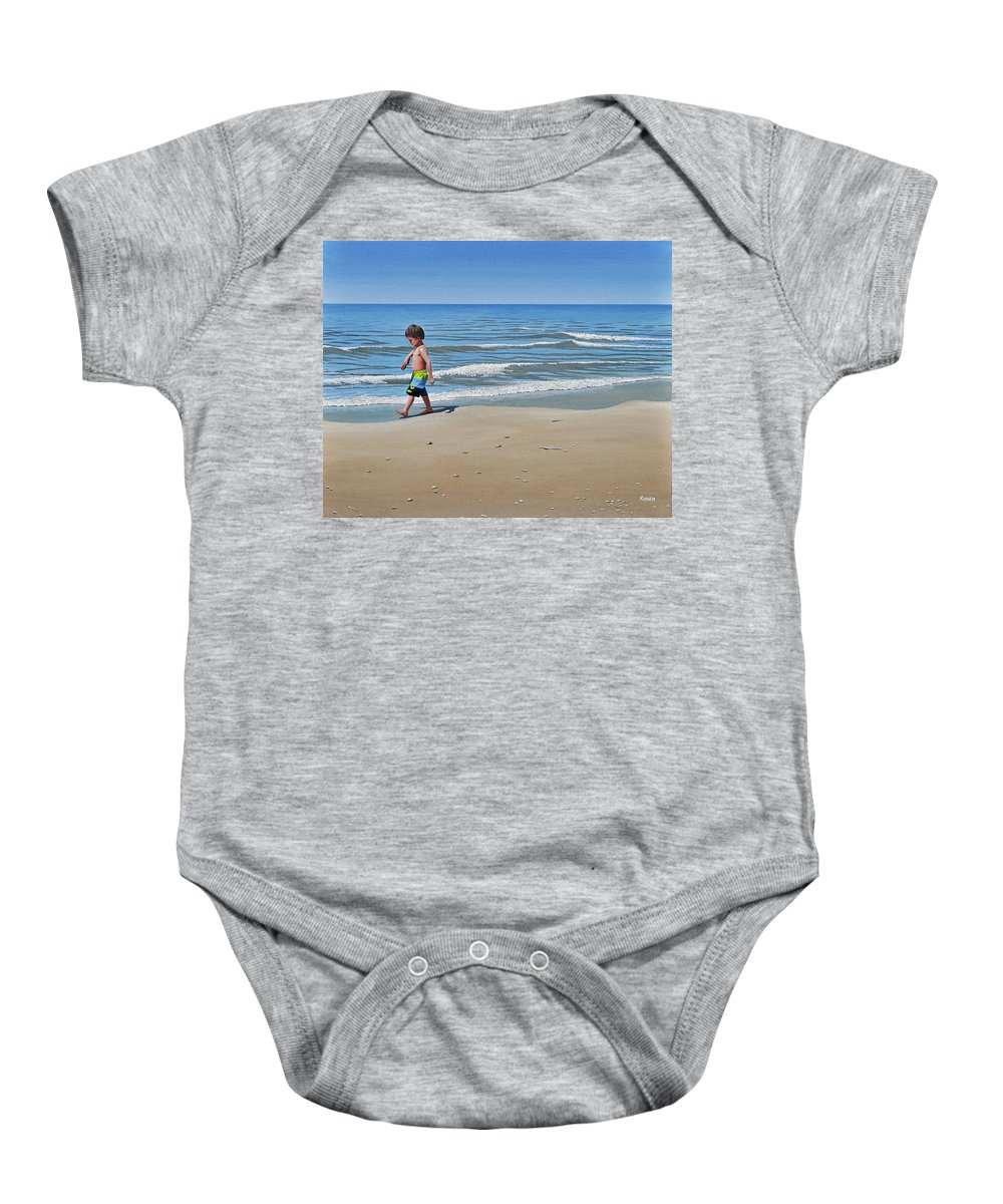 Beach Baby Onesie featuring the painting Little Explorer by Kenneth M Kirsch