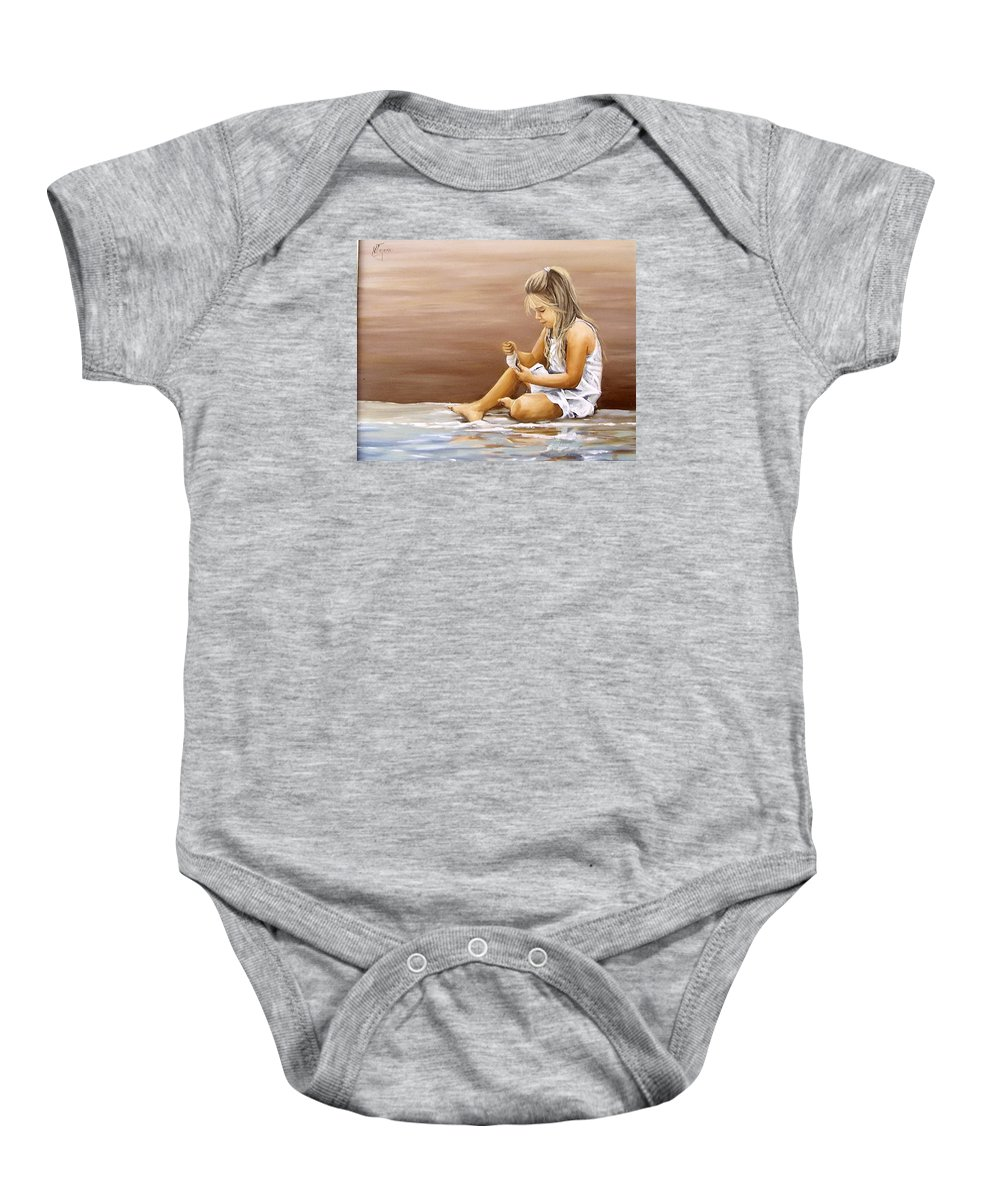 Children Girl Sea Shell Seascape Water Portrait Figurative Baby Onesie featuring the painting Little Girl With Sea Shell by Natalia Tejera