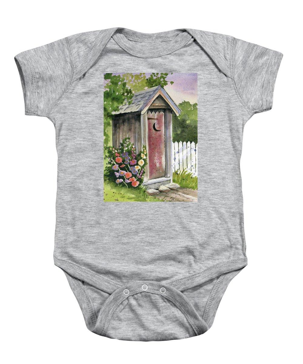 Loo Baby Onesie featuring the painting Little Loo Loo by Marsha Elliott