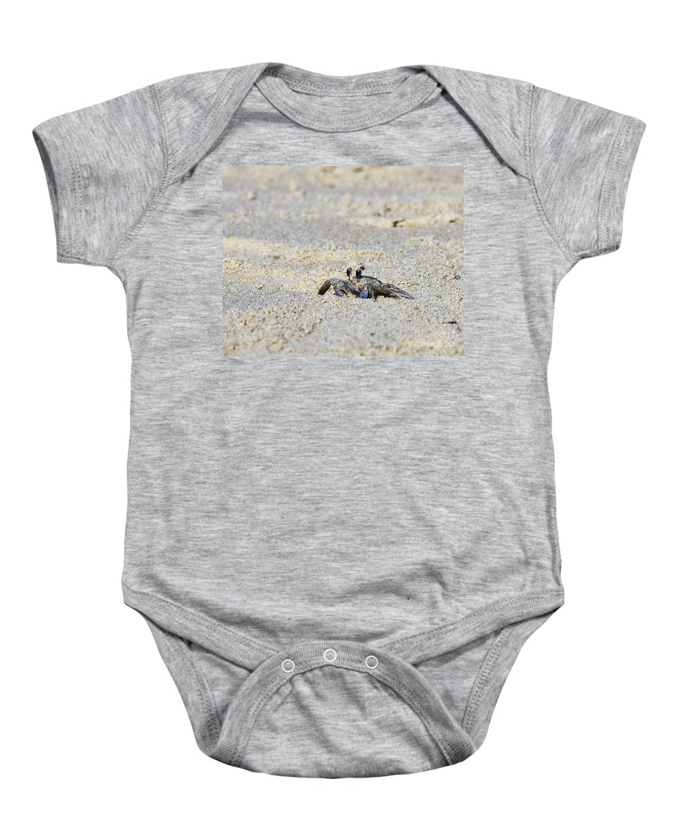 Crab Art Print Baby Onesie featuring the photograph Little Nag's Head Crab by Patricia Griffin Brett
