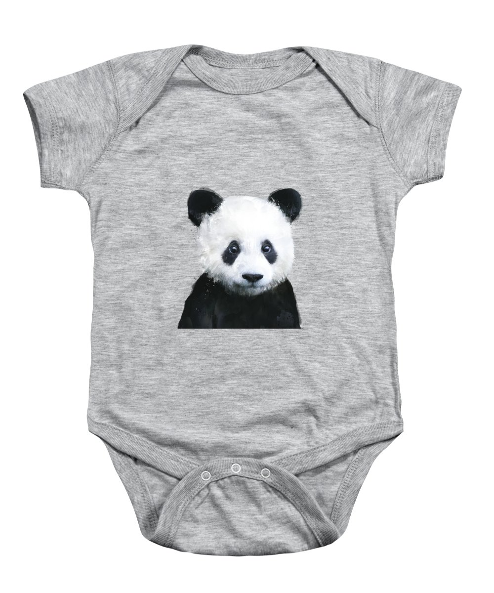 Panda Baby Onesie featuring the painting Little Panda by Amy Hamilton