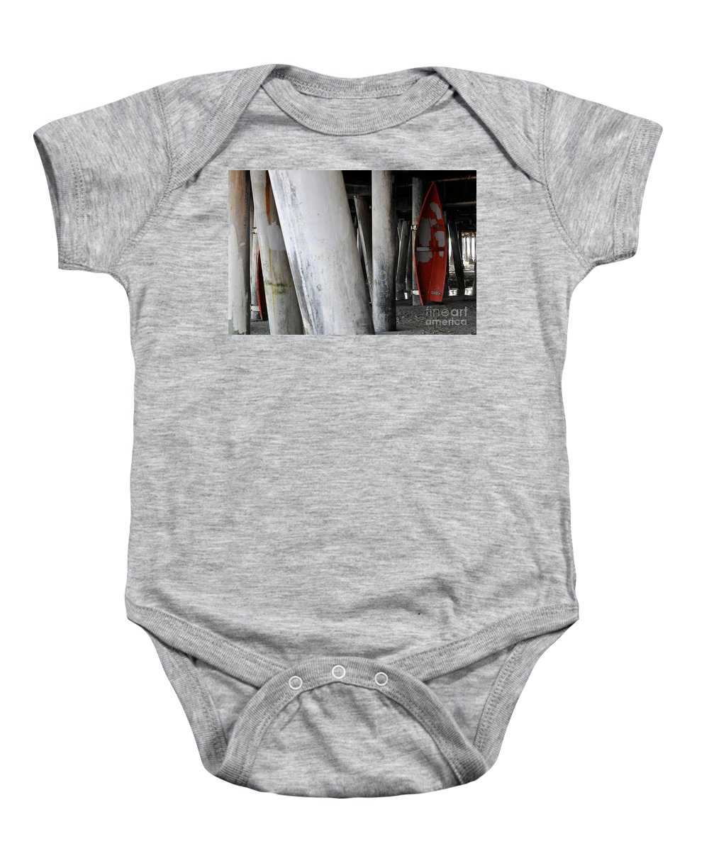 Clay Baby Onesie featuring the photograph Little Red Boat II by Clayton Bruster