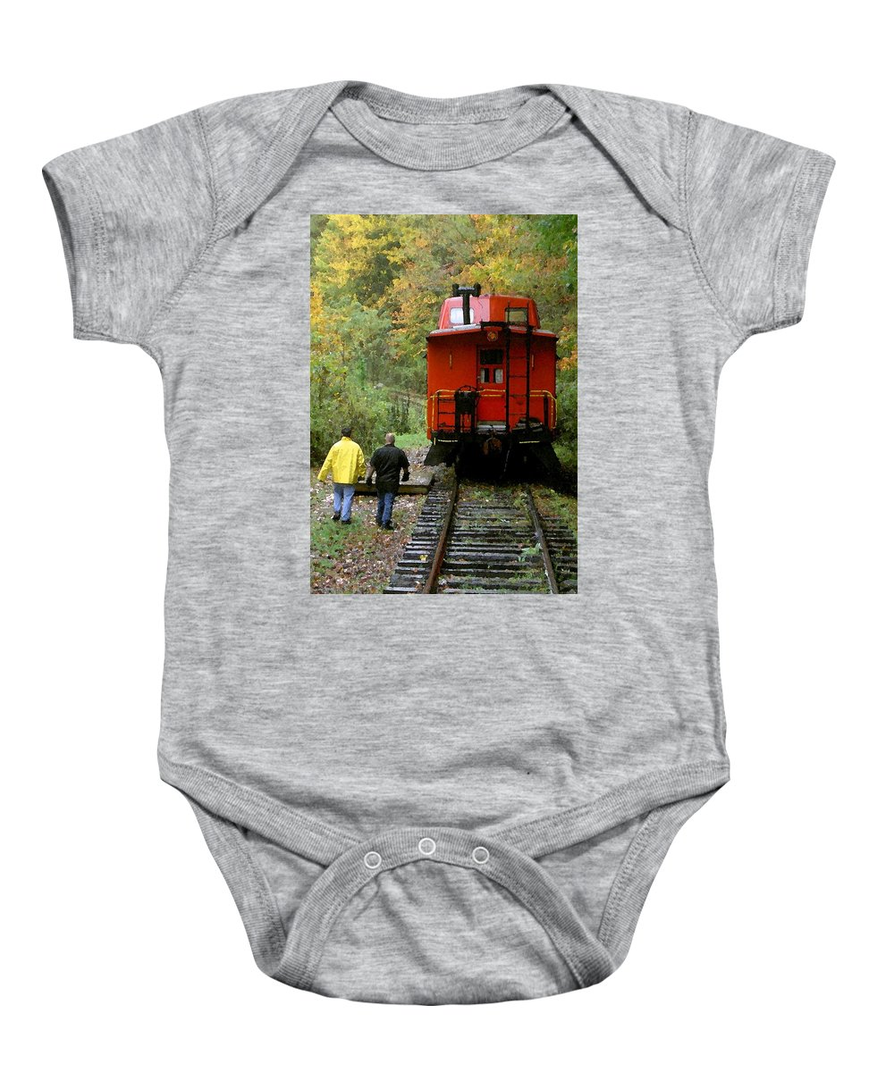 Train Baby Onesie featuring the photograph Little Red Caboose by Carolyn Jacob