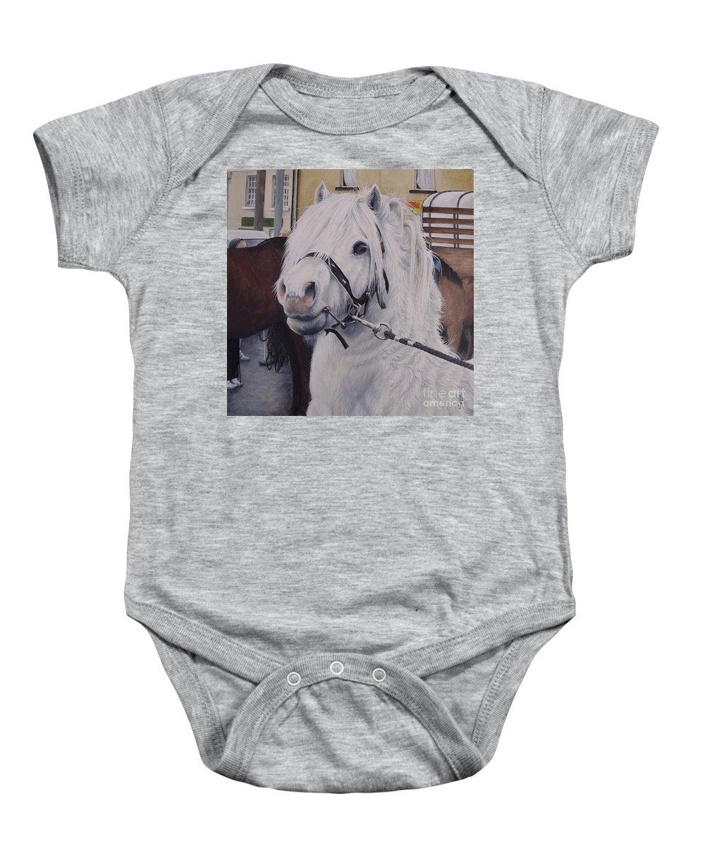 Portrait Baby Onesie featuring the painting Little Stallion-glin Fair by Pauline Sharp