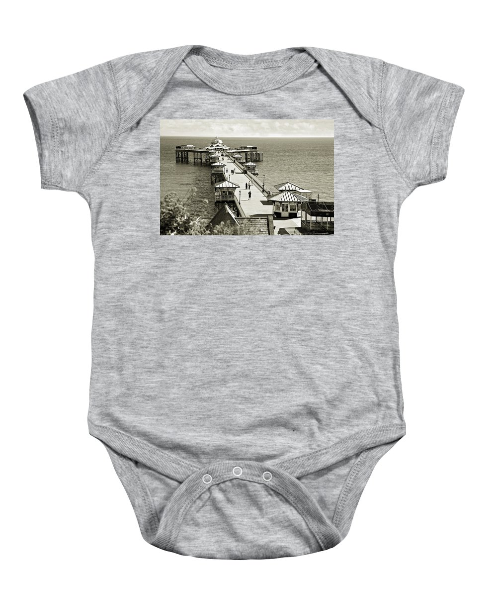 Pier Baby Onesie featuring the photograph Llandudno Pier North Wales Uk by Mal Bray