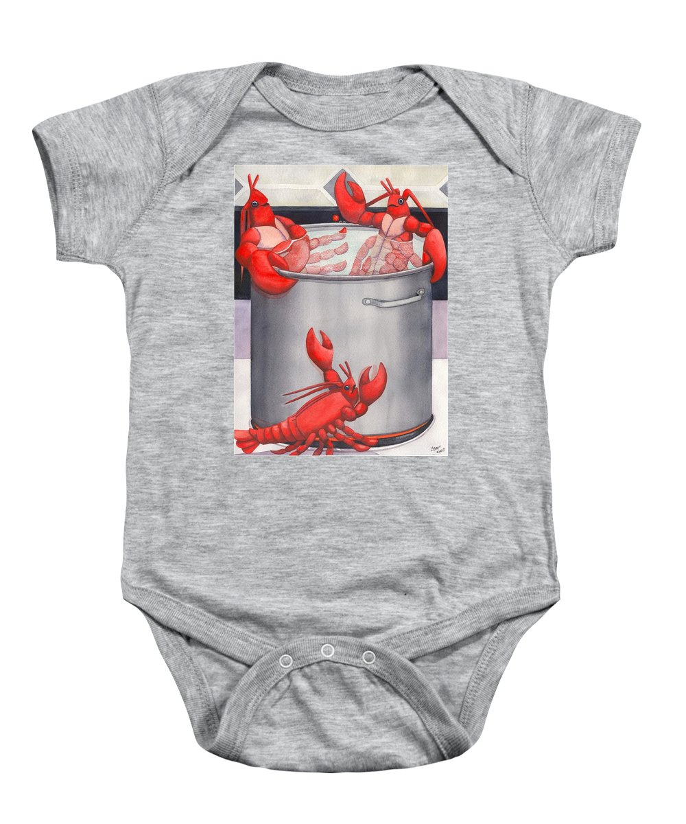 Lobsters Baby Onesie featuring the painting Lobster Spa by Catherine G McElroy