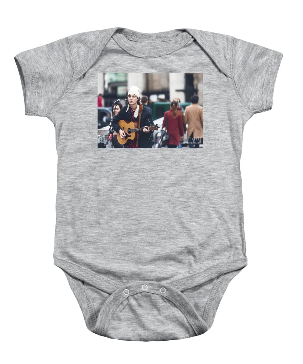 National Gallery London Baby Onesie featuring the photograph London Street Artists 3 by Alex Art and Photo