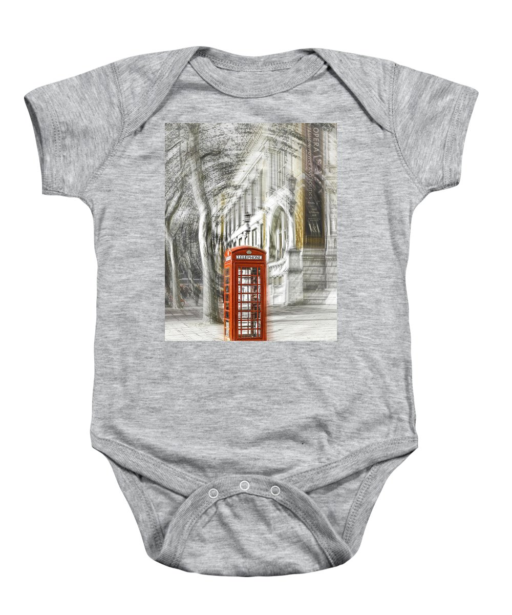 Victoria And Albert Museum Baby Onesie featuring the photograph London Telephone C by Alex Art and Photo