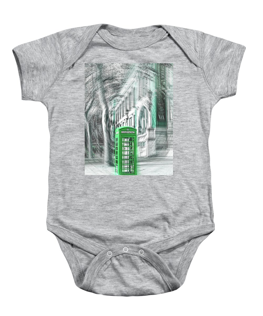 Victoria And Albert Museum Baby Onesie featuring the photograph London Telephone Green by Alex Art and Photo