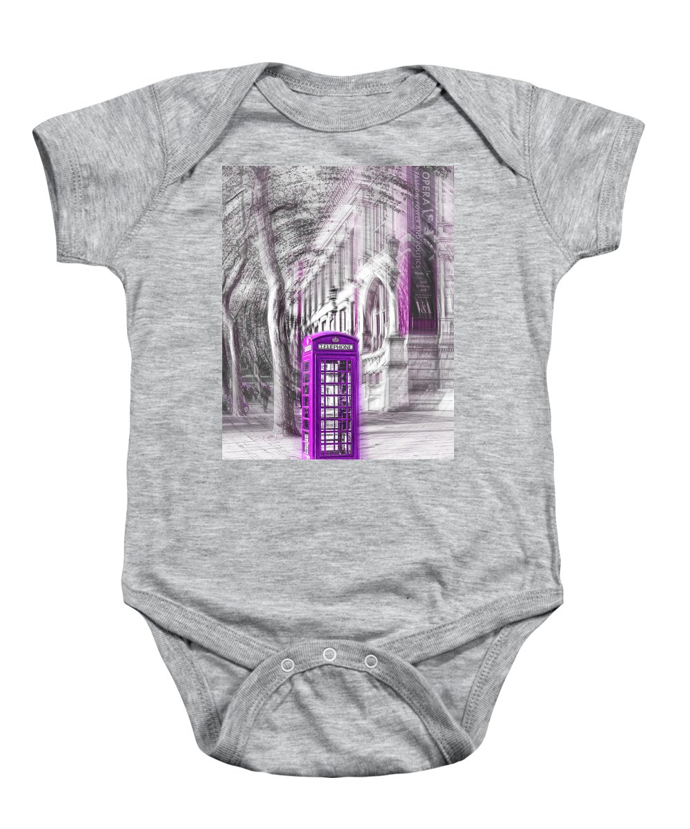 Victoria And Albert Museum Baby Onesie featuring the photograph London Telephone Purple by Alex Art and Photo