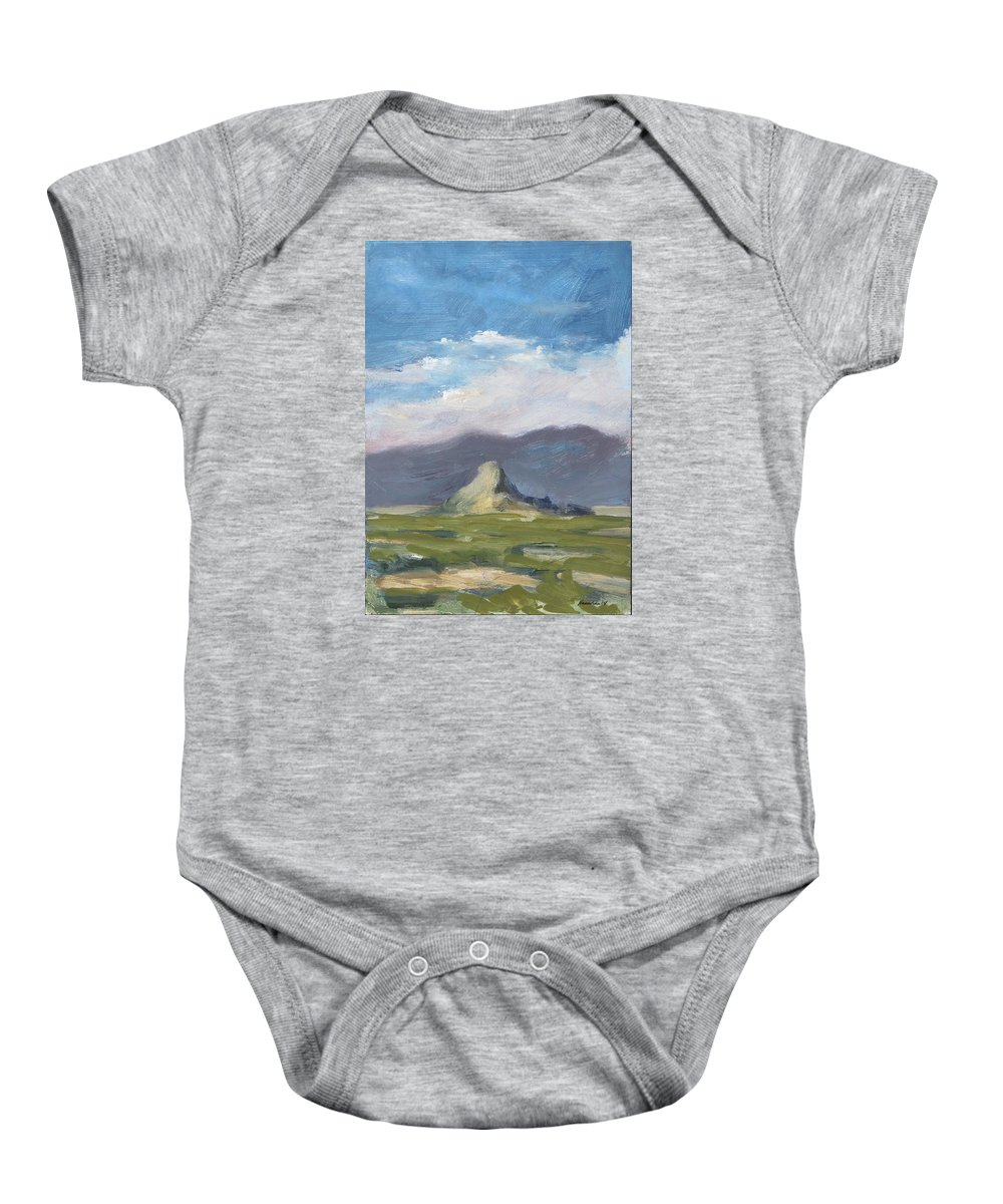 Lone Butte Baby Onesie featuring the painting Lone Butte by Robert James Hacunda