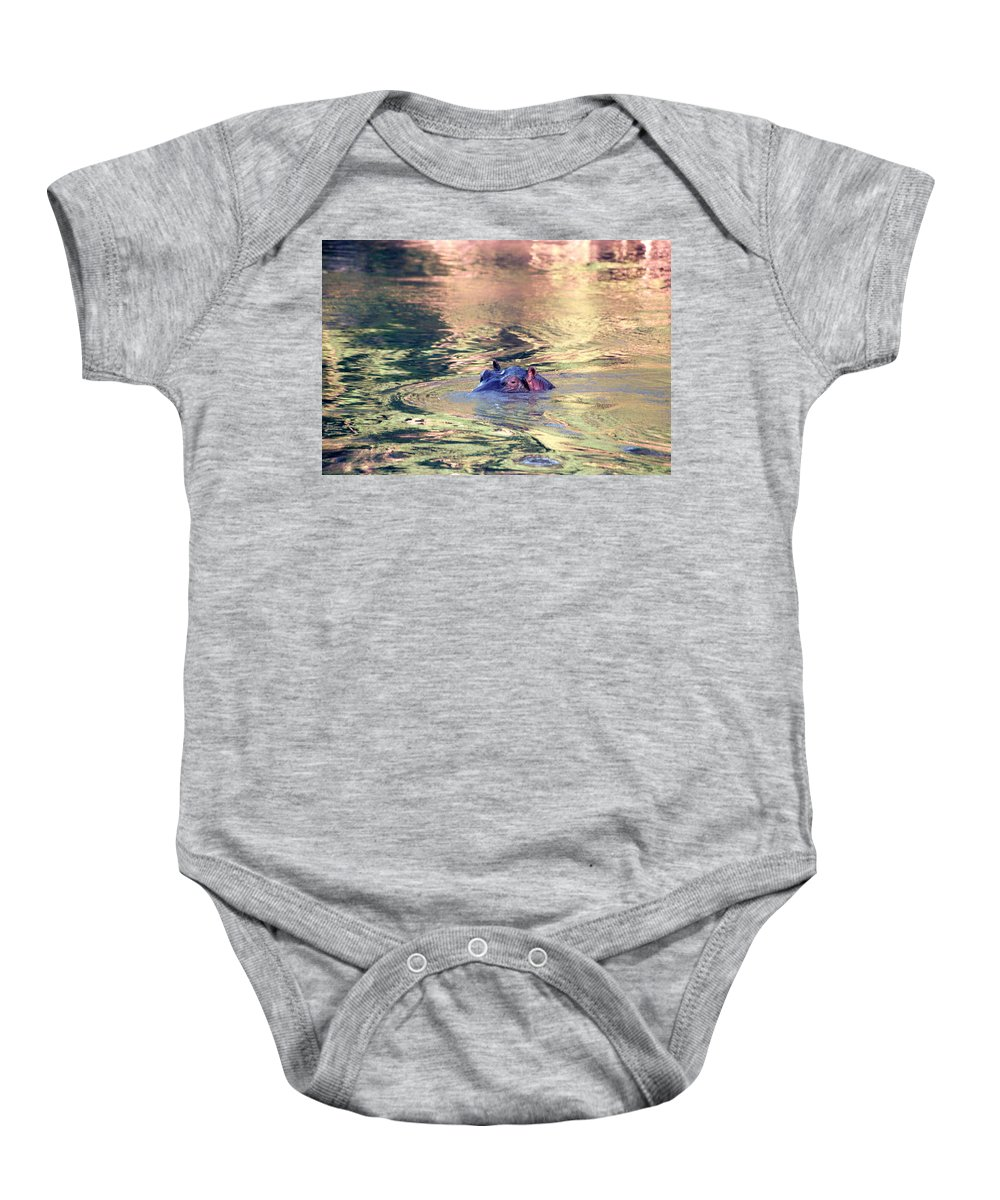 Africa Baby Onesie featuring the photograph Lonely Hippo by Sebastian Musial