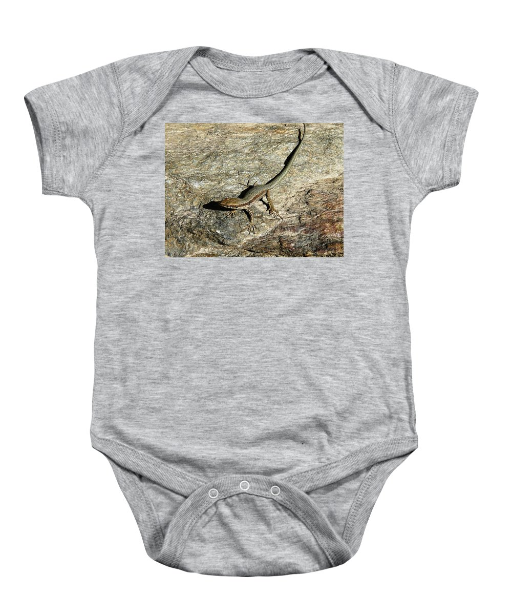 Gecko Baby Onesie featuring the photograph Long Toe by Valerie Ornstein