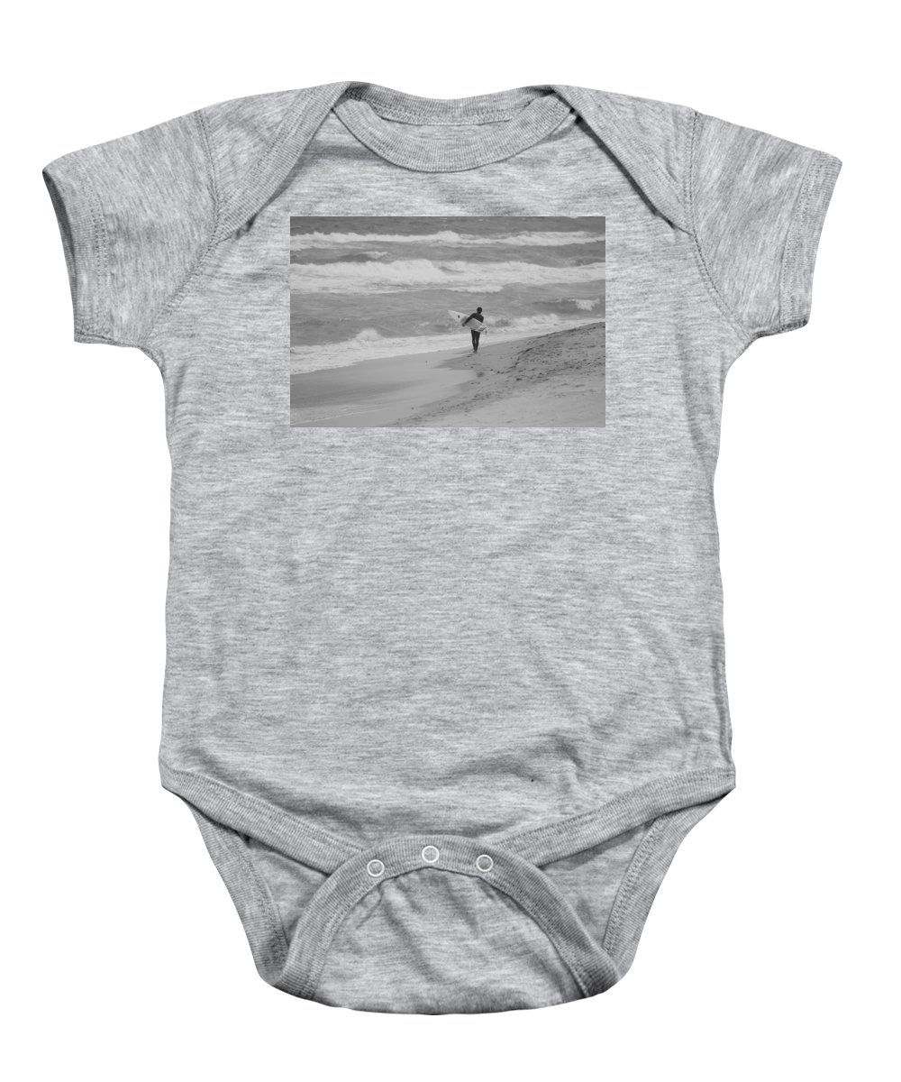 Black And White Baby Onesie featuring the photograph Long Walk Home by Rob Hans