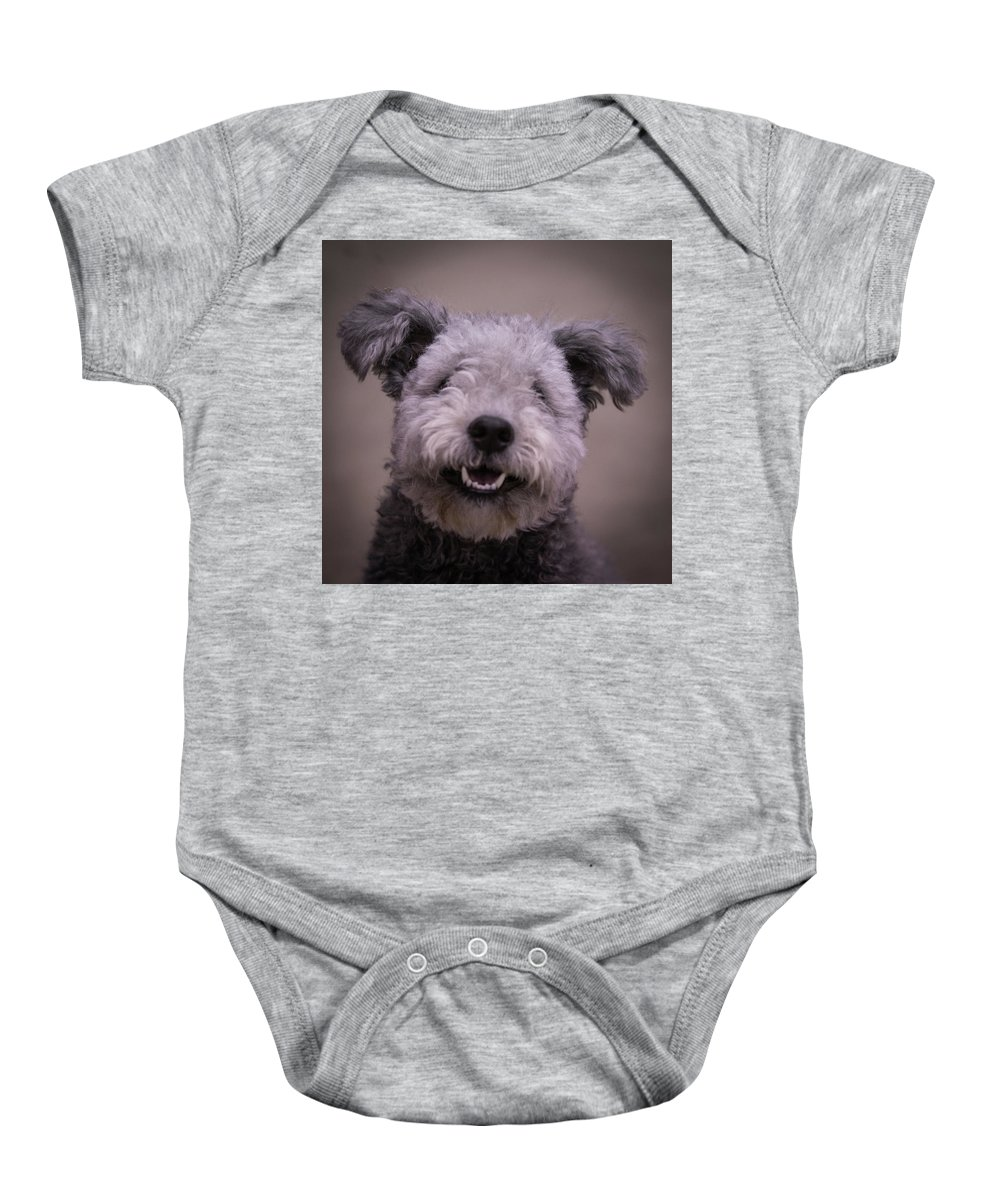 Pumi Baby Onesie featuring the photograph Look At Me by Jeff West