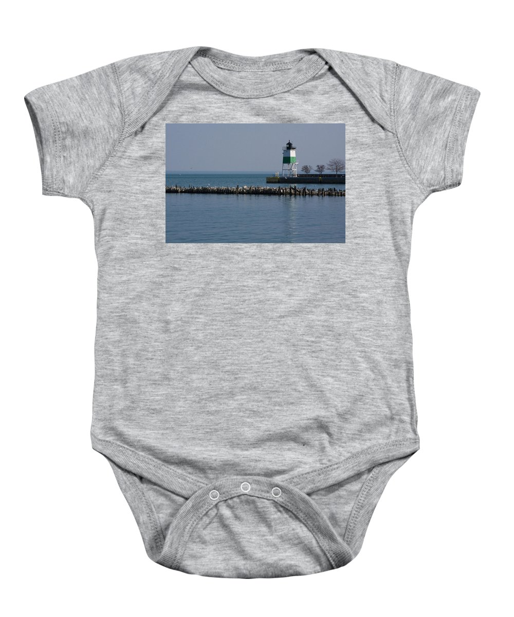 Chicago Lake Michigan Windy City Lighthouse Bird Gulls Water Blue Sky Baby Onesie featuring the photograph Looking Far by Andrei Shliakhau