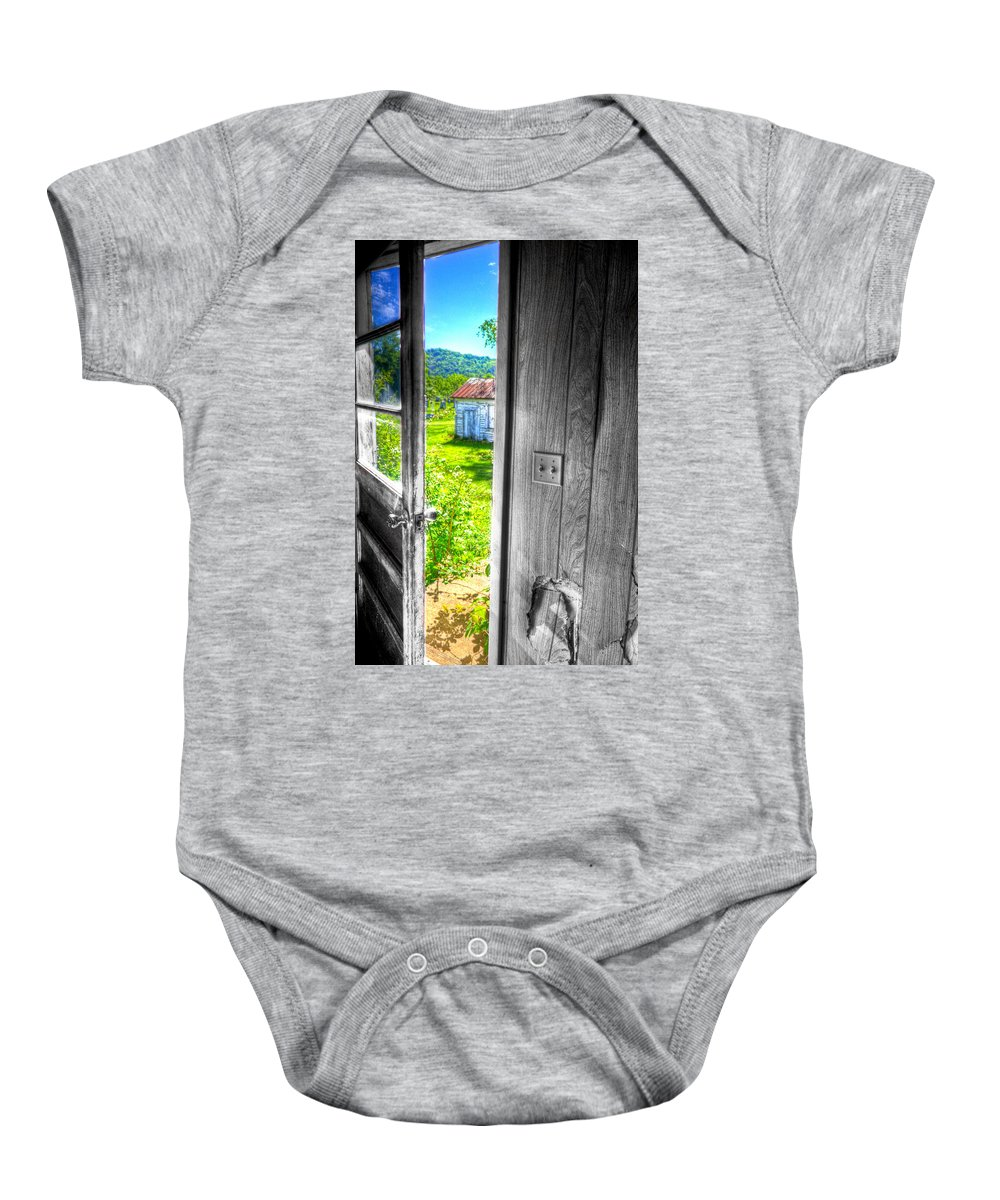 Outside Baby Onesie featuring the photograph Looking Out by Jonny D