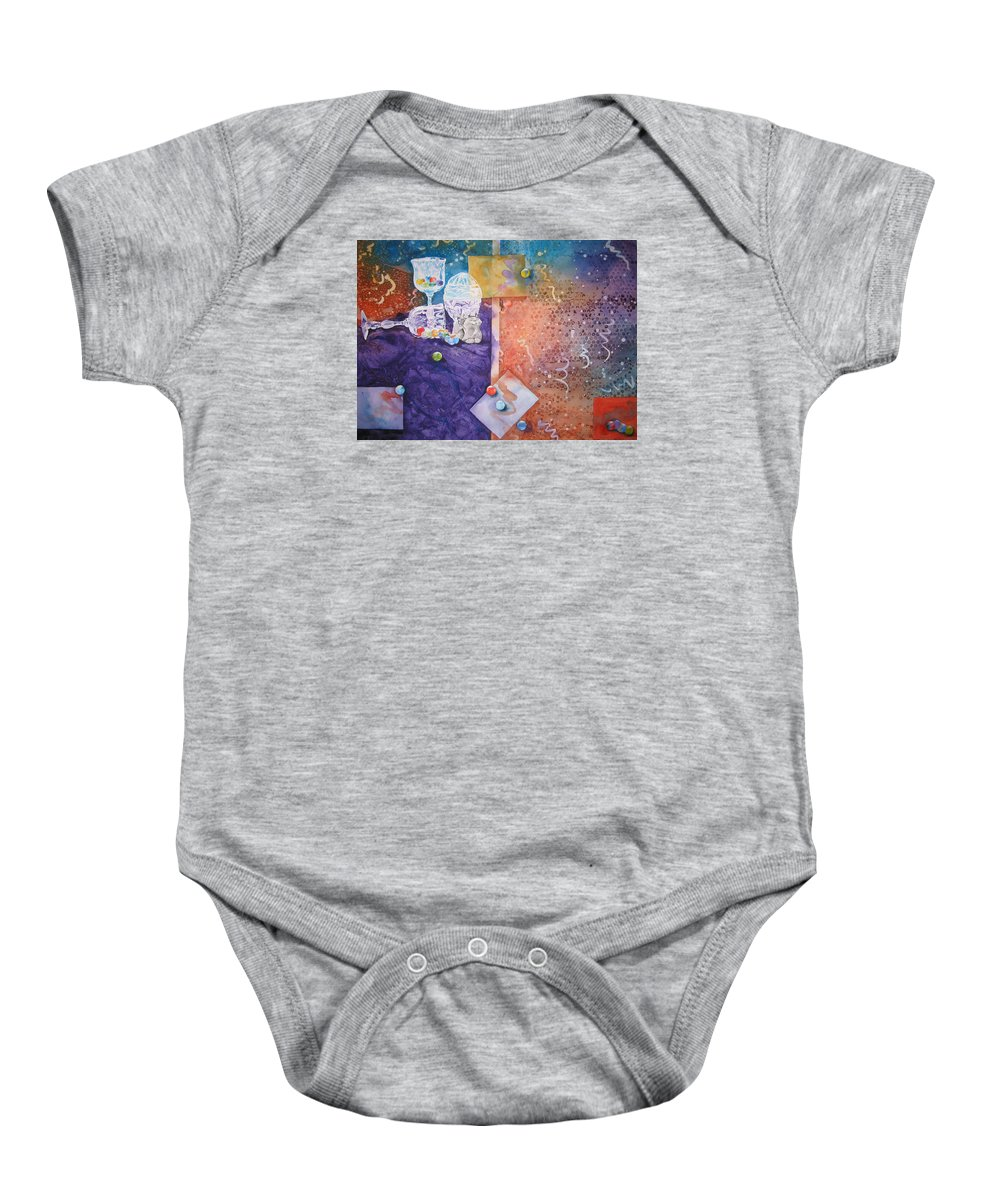 Marbles Baby Onesie featuring the painting Losing My Marbles by Jean Blackmer