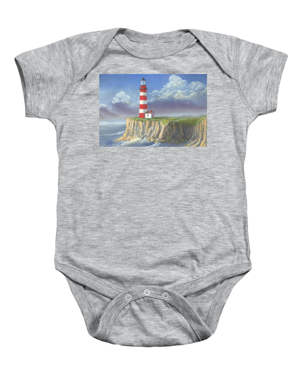 Light Baby Onesie featuring the painting Lost Point Light by Jerry McElroy