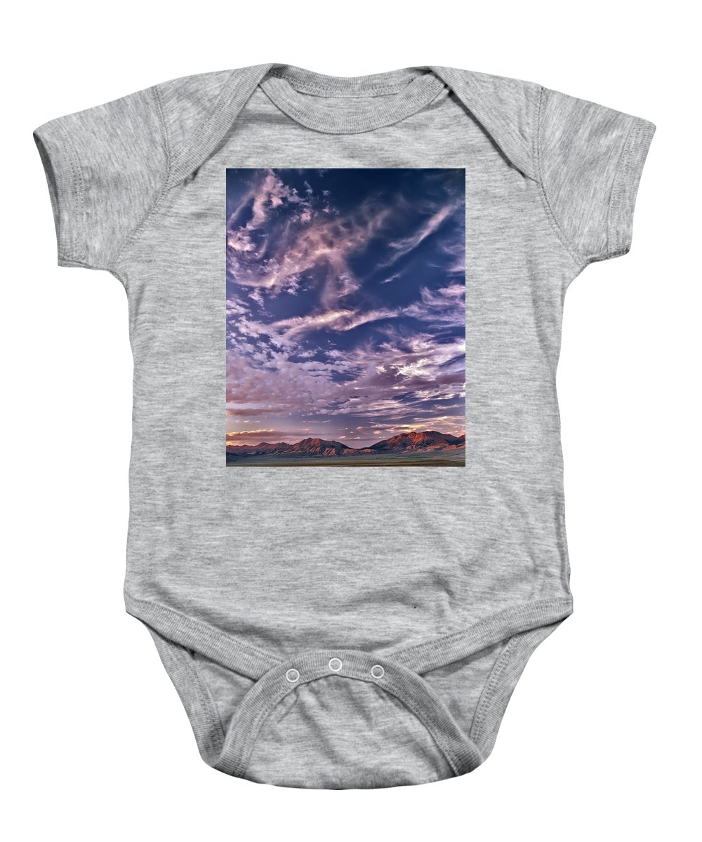 Idaho Baby Onesie featuring the photograph Lost River Sky by Leland D Howard