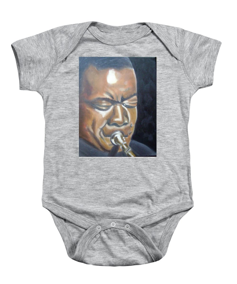 Louis Armstrong Baby Onesie featuring the painting Louis Armstrong by Toni Berry