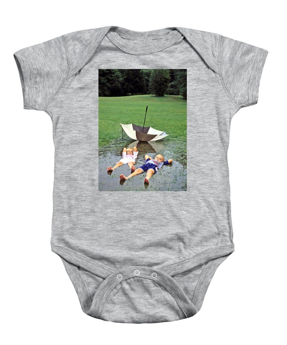 Children Baby Onesie featuring the photograph Love A Rainy Day Series by Laurie Paci