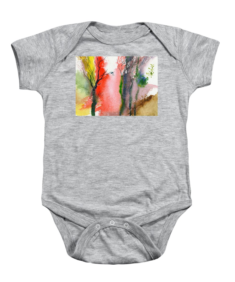 Landscape Baby Onesie featuring the painting Love Birds 2 by Anil Nene