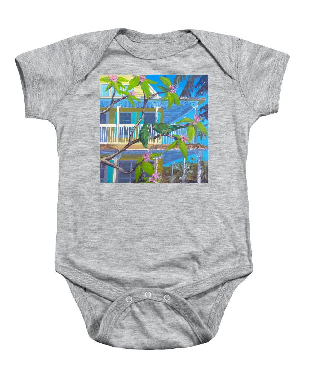 Parrots Baby Onesie featuring the painting Love Blooms by Paul Emig
