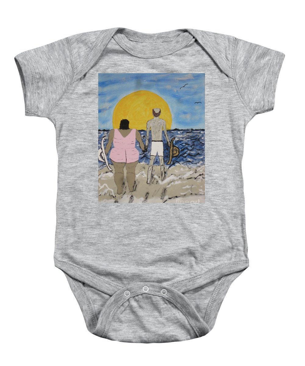 Love Baby Onesie featuring the painting Love Comes In All Sizes by Jeffrey Koss