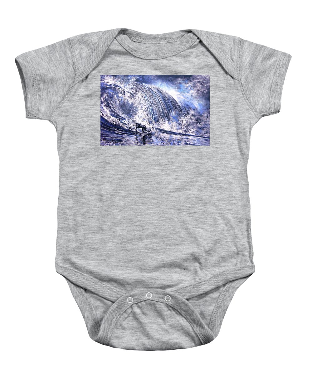 Sports Baby Onesie featuring the painting Love Is The Seventh Wave by Miki De Goodaboom