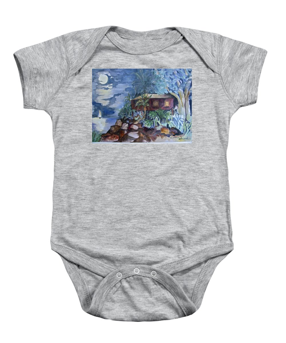 Moomlight Baby Onesie featuring the painting Love Shack by Donna Steward