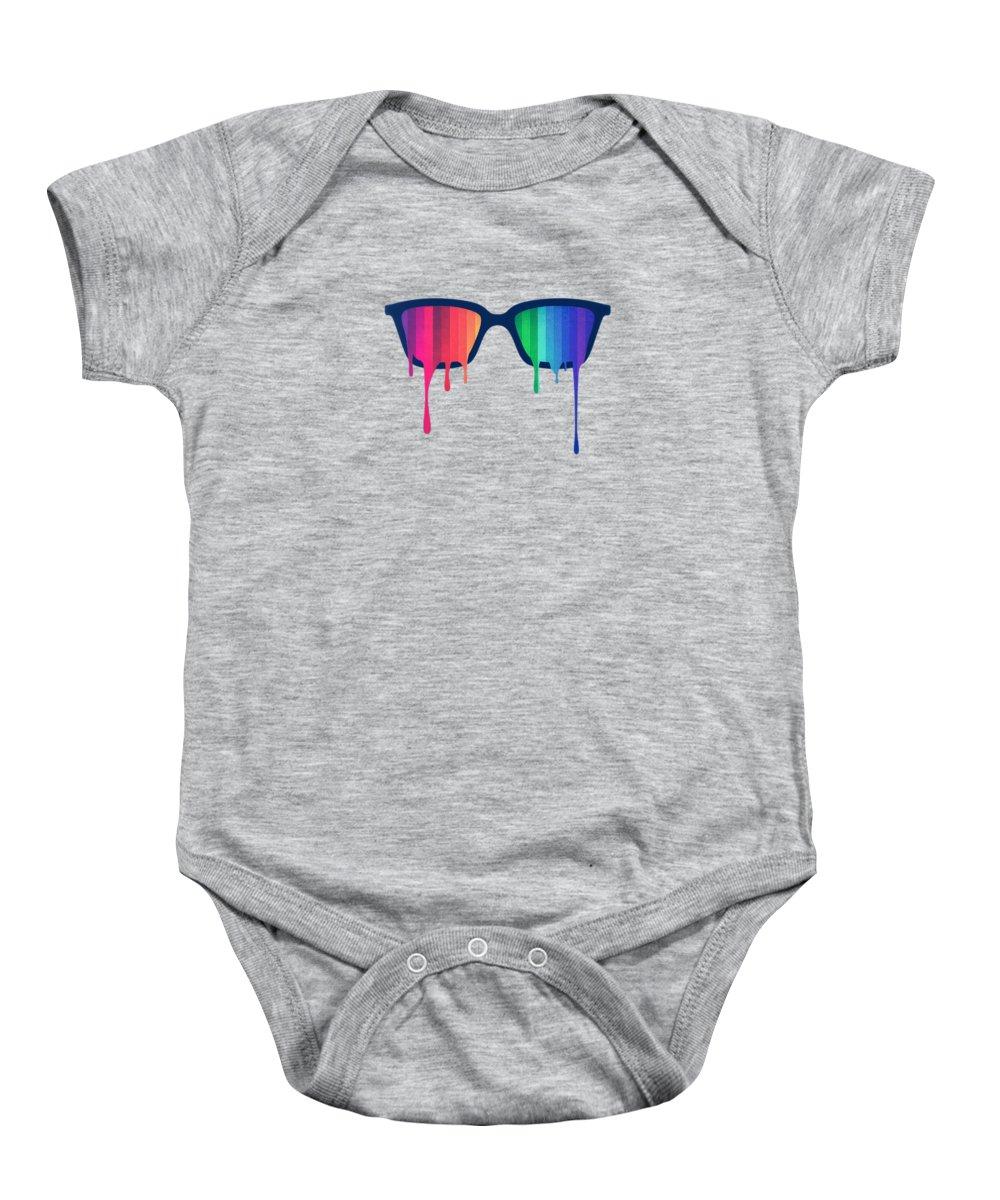 Nerd Baby Onesie featuring the digital art Love Wins Rainbow - Spectrum Pride Hipster Nerd Glasses by Philipp Rietz
